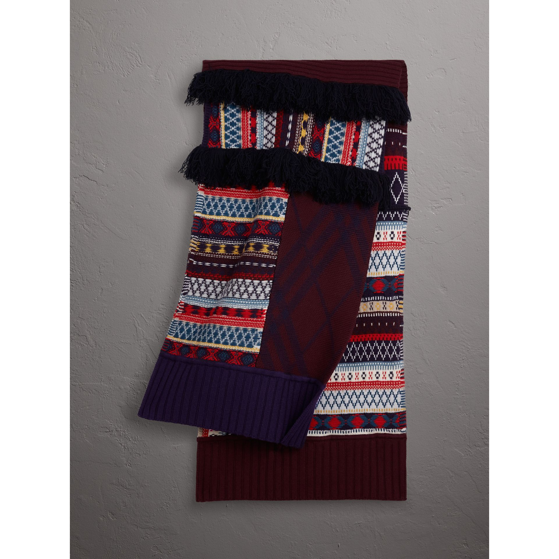 Fair Isle Wool Cashmere Patchwork Scarf in Burgundy - Women | Burberry Canada - gallery image 1