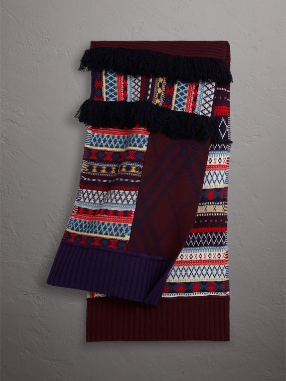 Fair Isle Wool Cashmere Patchwork Scarf in Burgundy