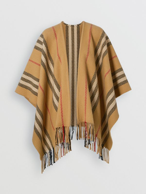 Stripe Wool Cashmere Cape in Black - Women | Burberry Australia - cell image 3