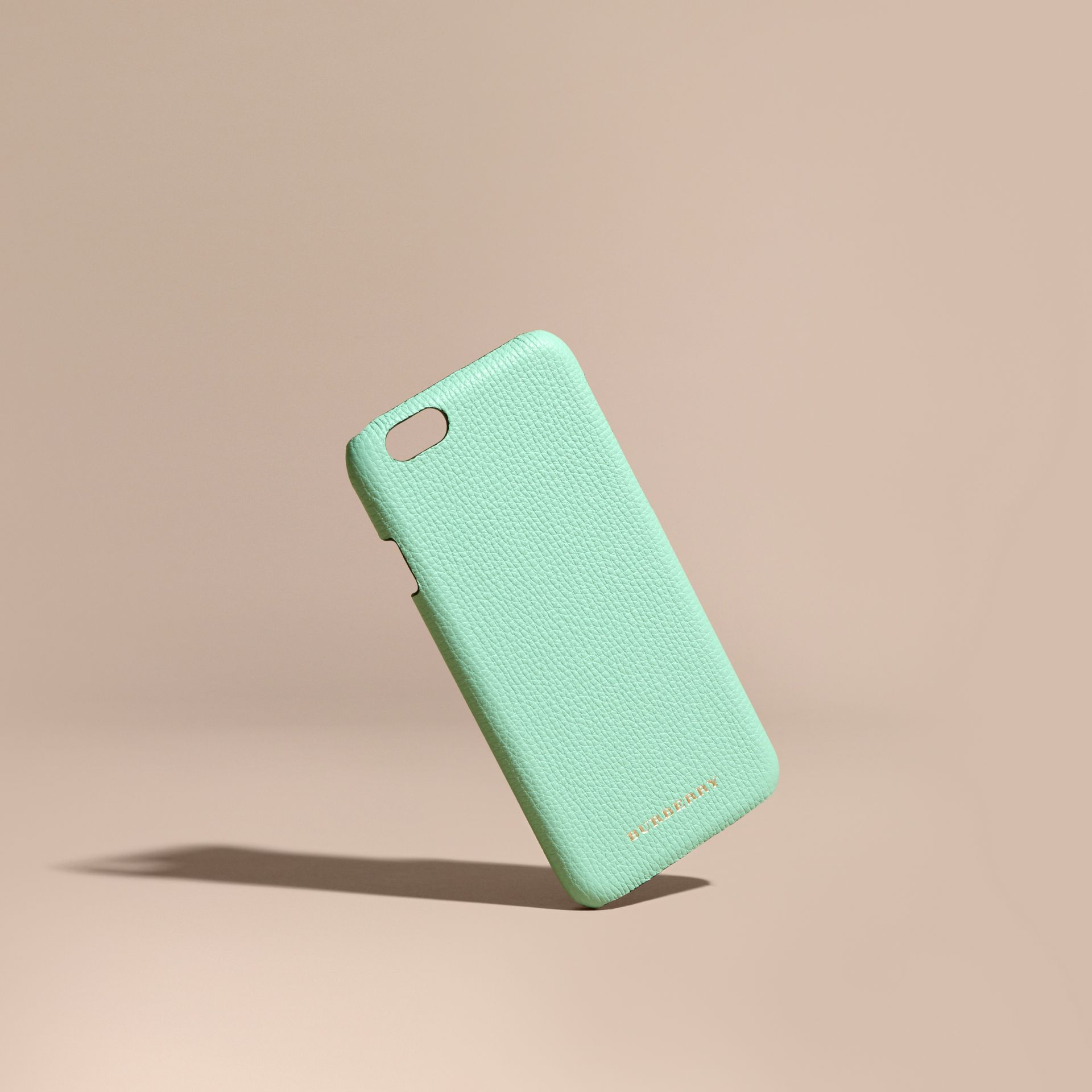 Grainy Leather iPhone 6 Case in Light Mint | Burberry - gallery image 1