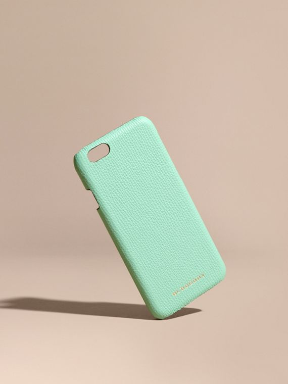Grainy Leather iPhone 6 Case in Light Mint - Women | Burberry