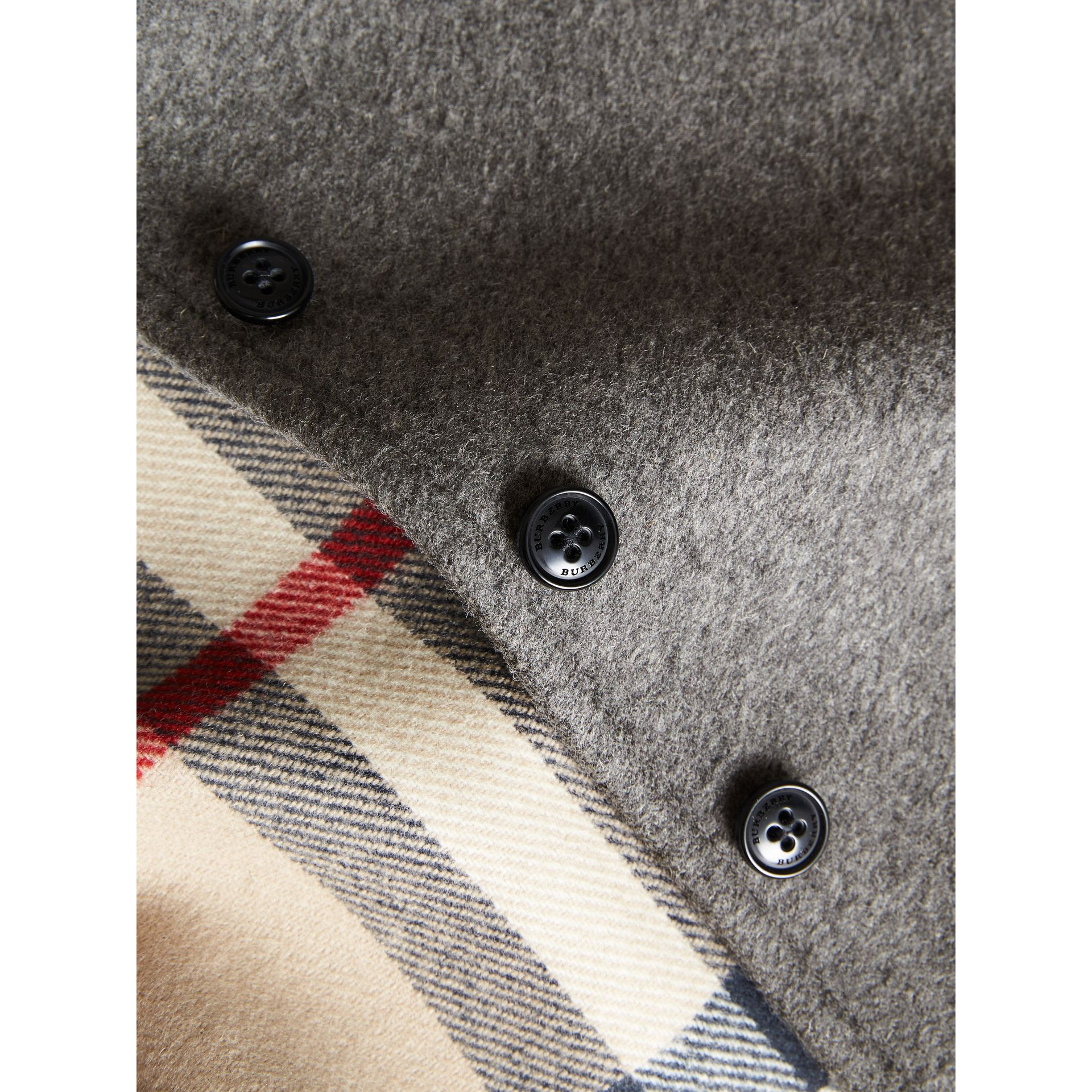 Hooded Check Detail Wool A-line Cape in Mid Grey Melange | Burberry - gallery image 1