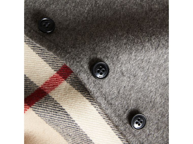 Hooded Check Detail Wool A-line Cape in Mid Grey Melange | Burberry - cell image 1