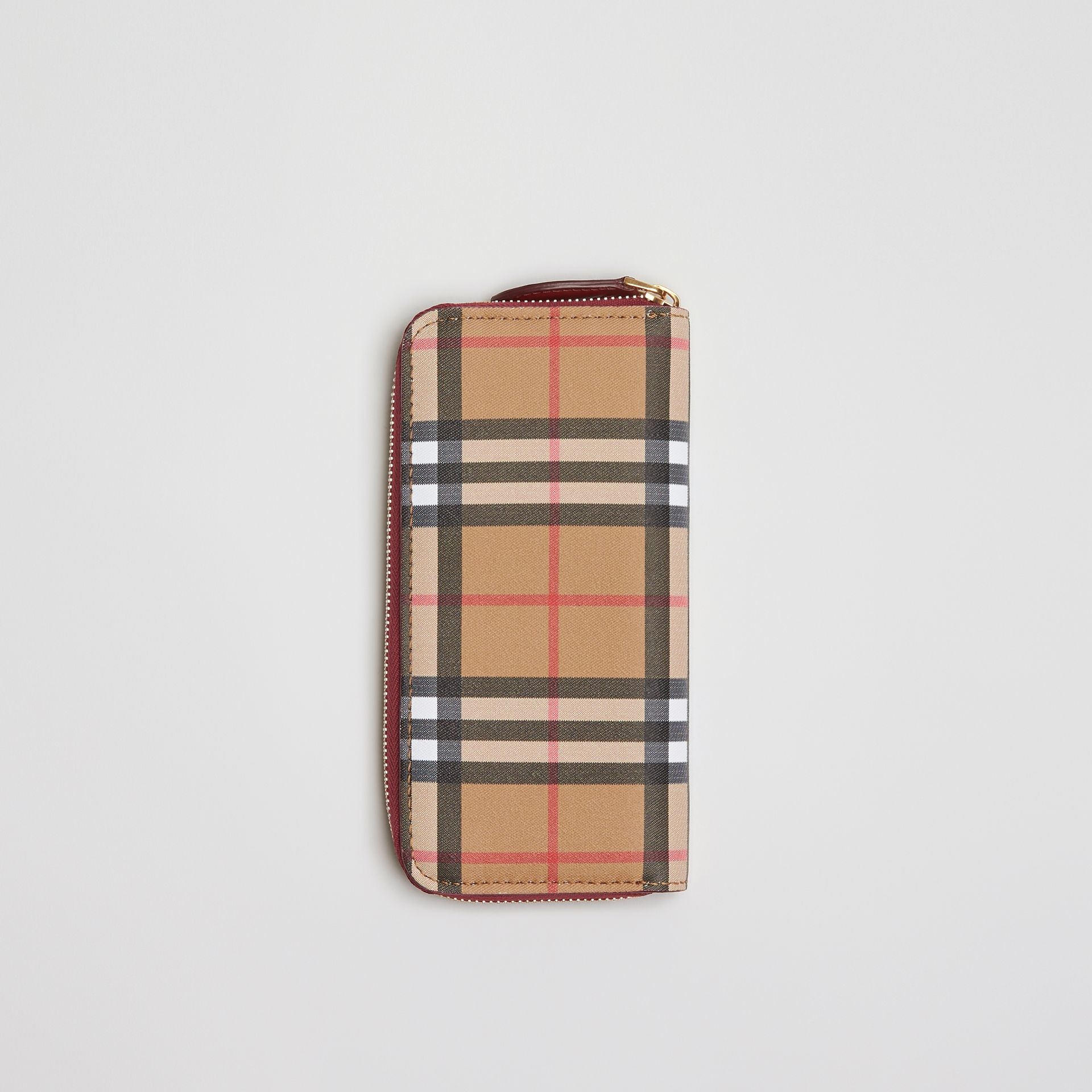 Vintage Check and Leather Ziparound Wallet in Crimson - Women | Burberry - gallery image 0