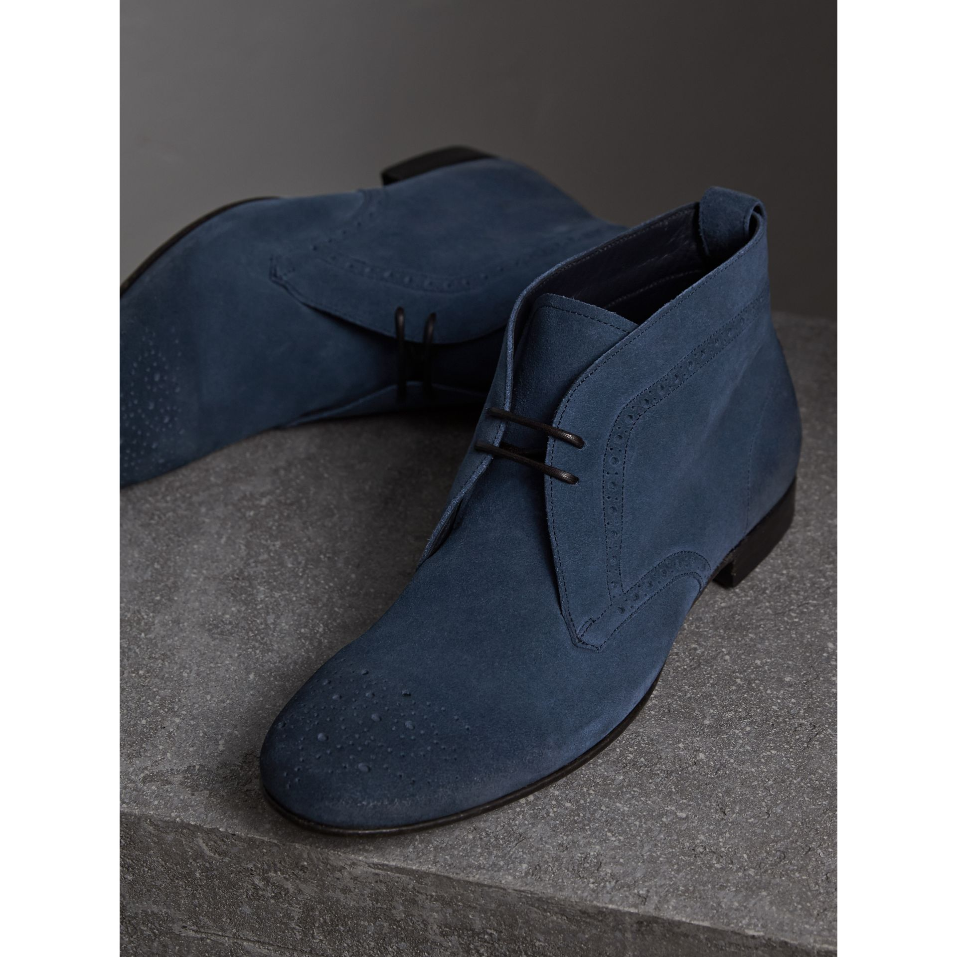 Brogue Detail Suede Desert Boots in Petrol Blue - Men | Burberry - gallery image 4