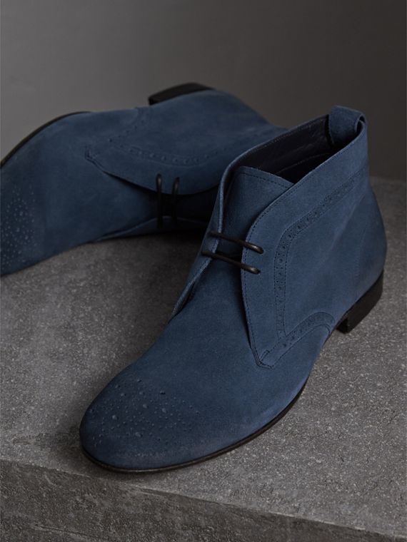Brogue Detail Suede Desert Boots in Petrol Blue - Men | Burberry - cell image 3