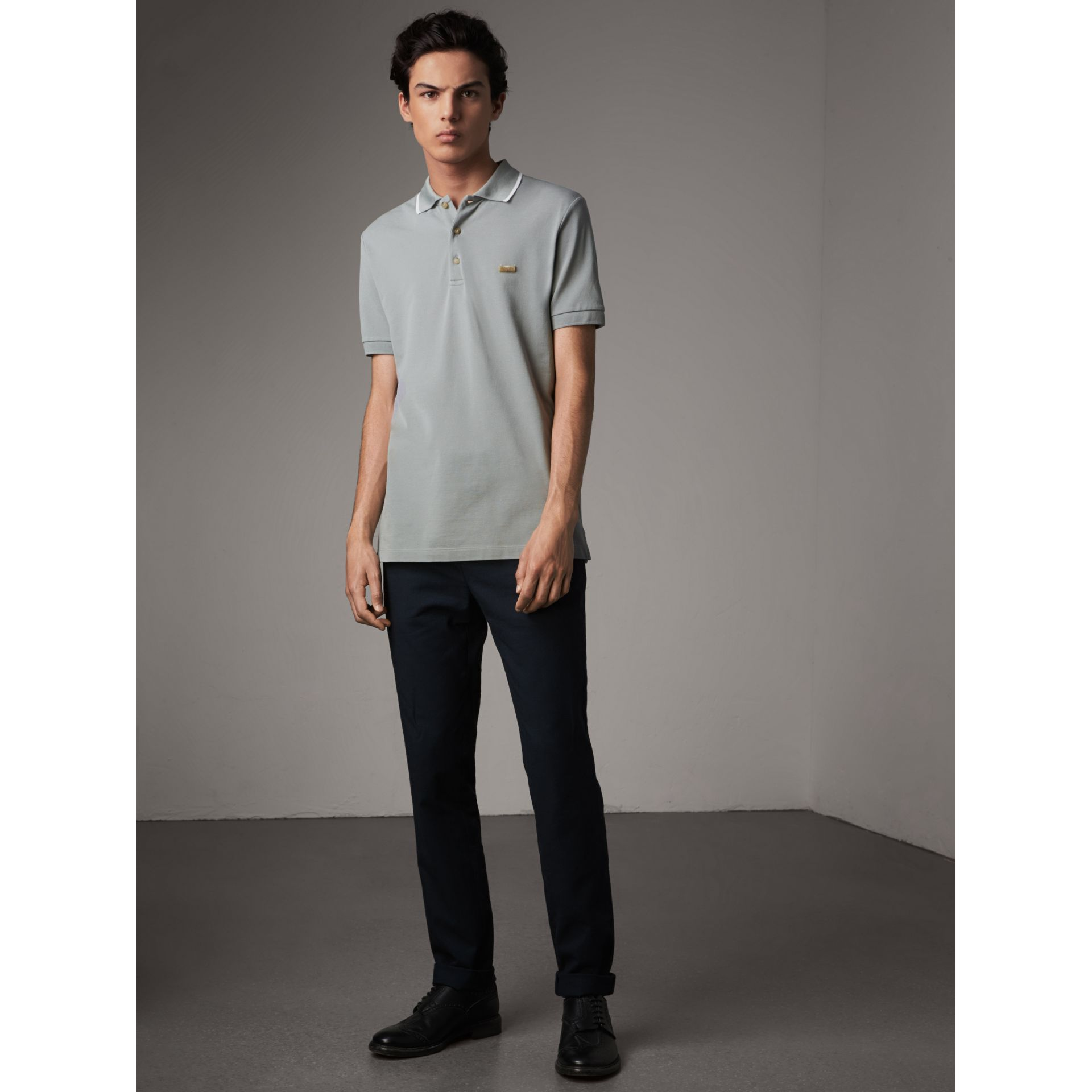 Tipped Collar Cotton Piqué Polo Shirt in Mist Grey - Men | Burberry - gallery image 5