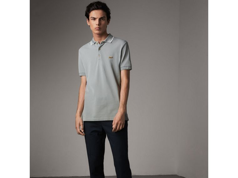 Tipped Collar Cotton Piqué Polo Shirt in Mist Grey - Men | Burberry - cell image 4
