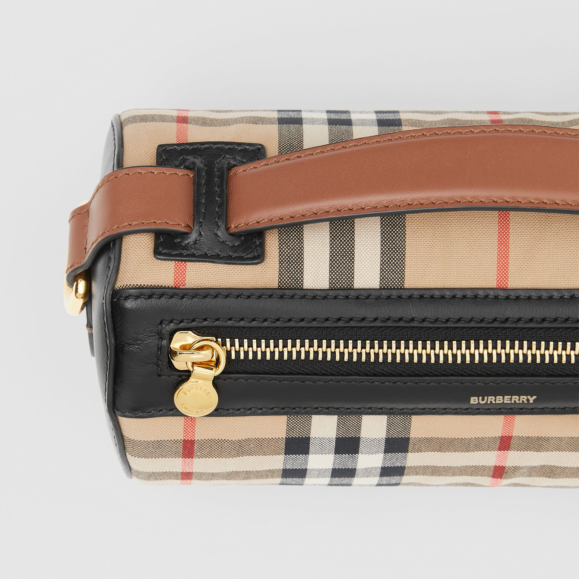 The Vintage Check and Leather Barrel Bag in Archive Beige/black - Women | Burberry United Kingdom - gallery image 1