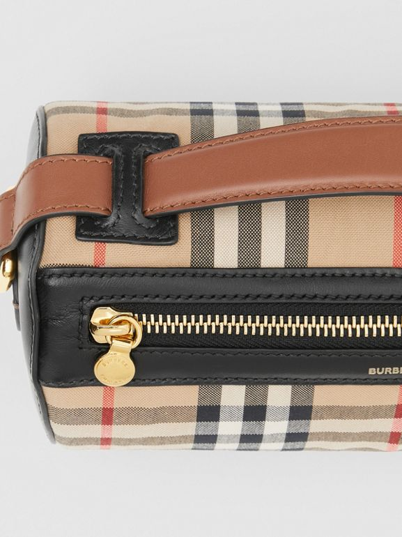 The Vintage Check and Leather Barrel Bag in Archive Beige/black - Women | Burberry Canada - cell image 1