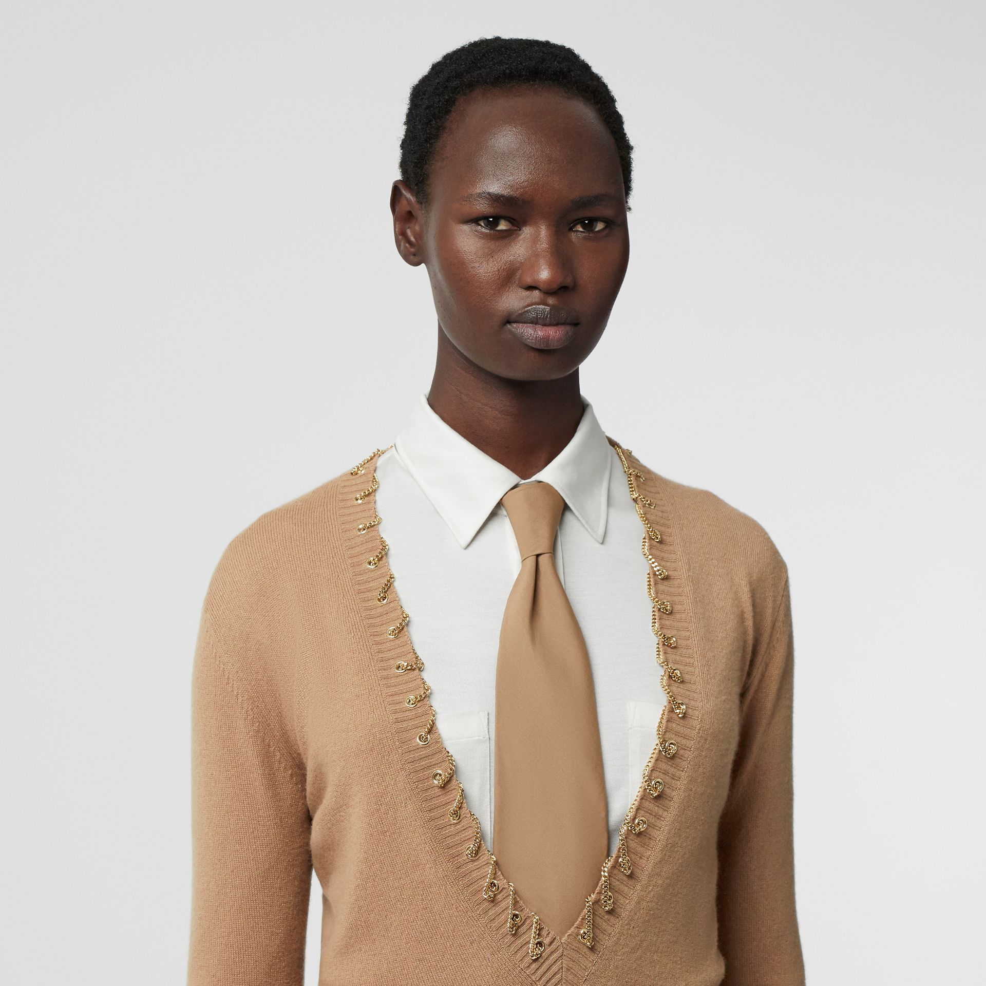 Chain Detail Cashmere Sweater in Camel - Women | Burberry - gallery image 1