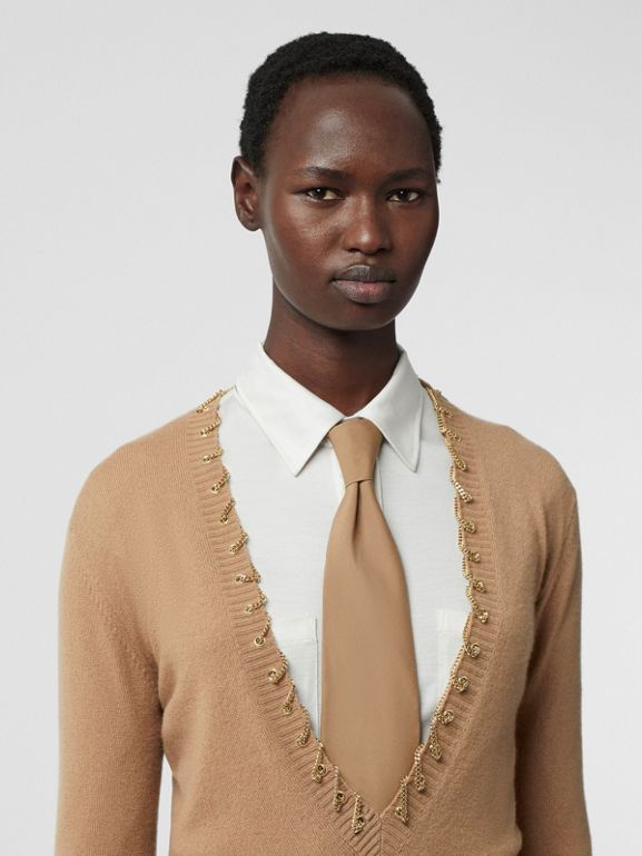 Chain Detail Cashmere Sweater in Camel - Women | Burberry - cell image 1