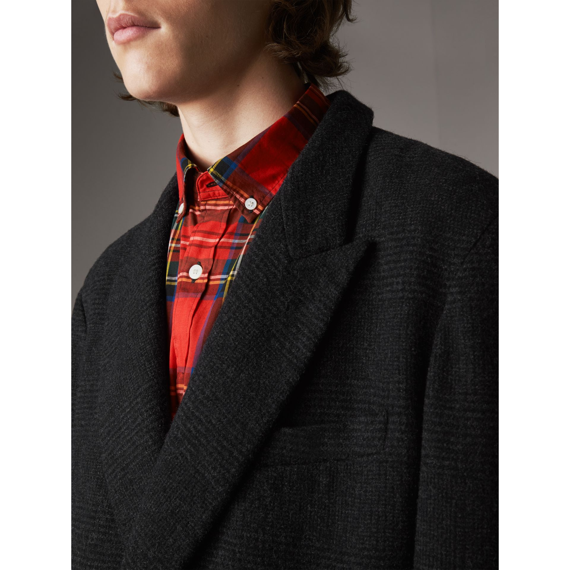 Prince of Wales Wool Blend Double-breasted Jacket in Charcoal Melange - Men | Burberry - gallery image 4