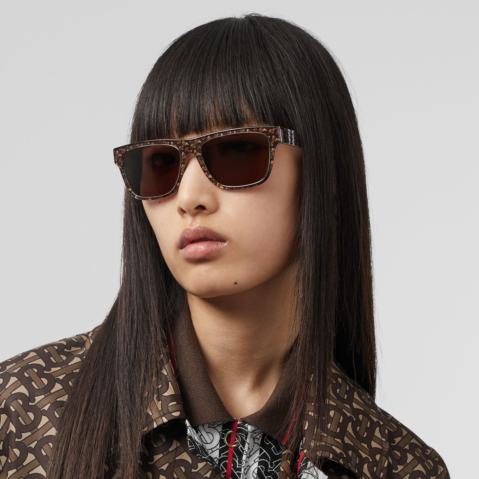 Monogram Stripe Square Frame Sunglasses in Honey | Burberry United States - gallery image 2