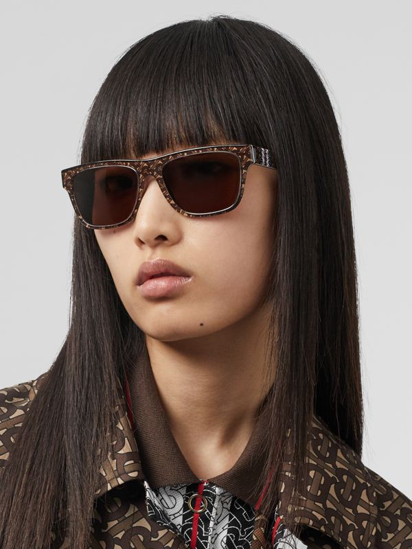 Monogram Stripe Square Frame Sunglasses in Honey | Burberry - cell image 2