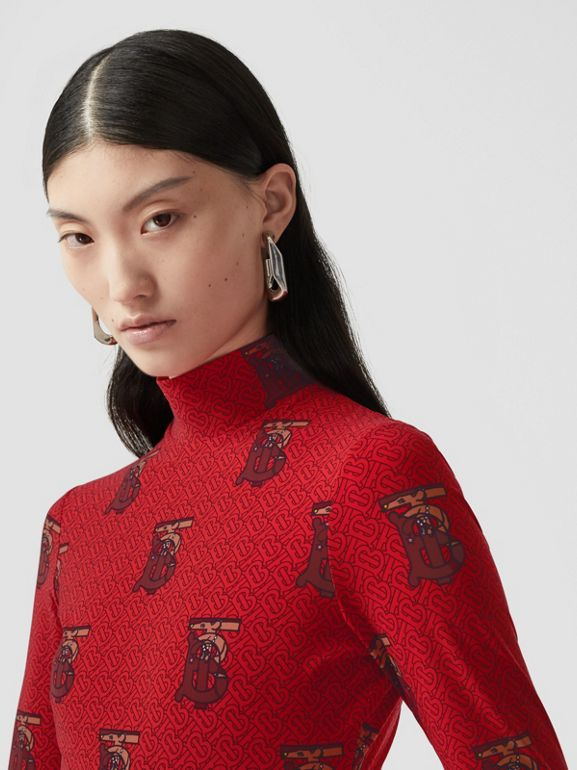 Monogram Motif Stretch Nylon Bodysuit in Bright Red - Women | Burberry - cell image 1