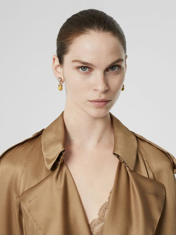 Silk Wrap Trench Coat in Honey - Women | Burberry - cell image 1