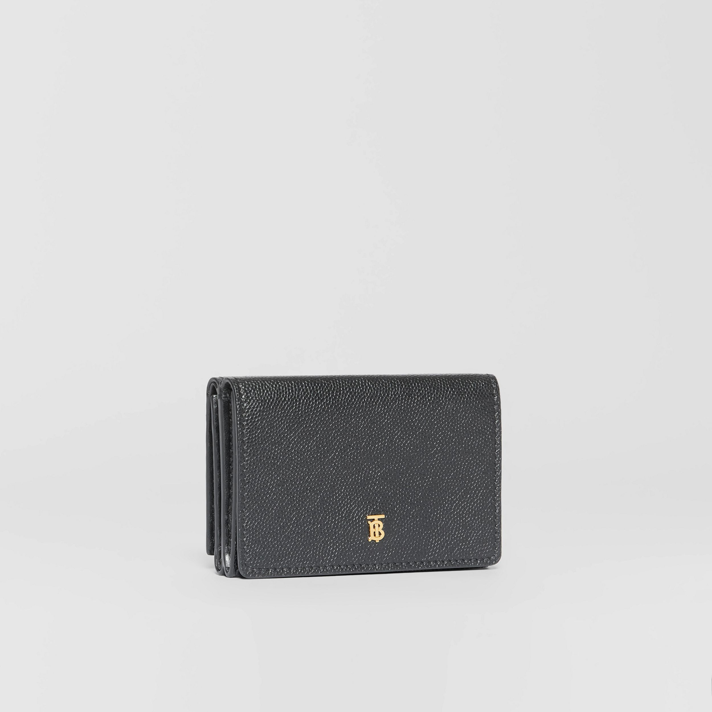 Small Grainy Leather Folding Wallet in Black - Women | Burberry - 4