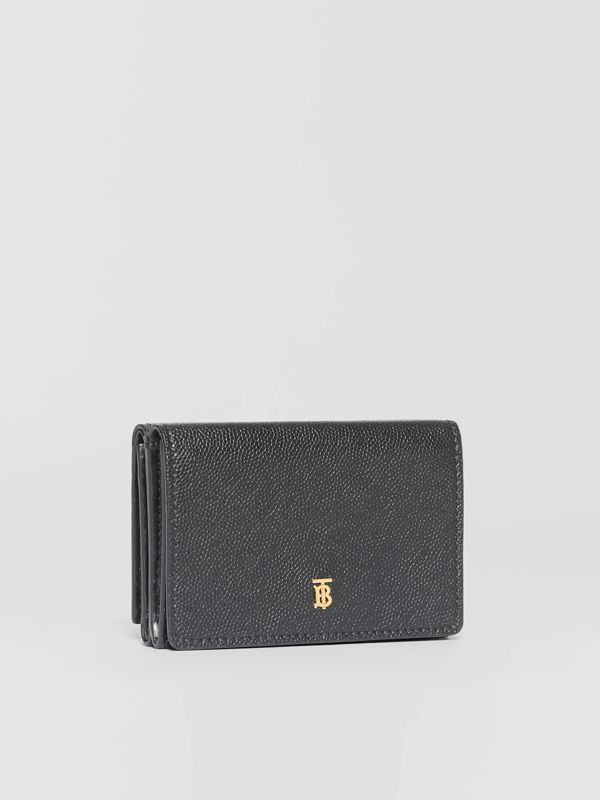 Small Grainy Leather Folding Wallet in Black - Women | Burberry - cell image 3