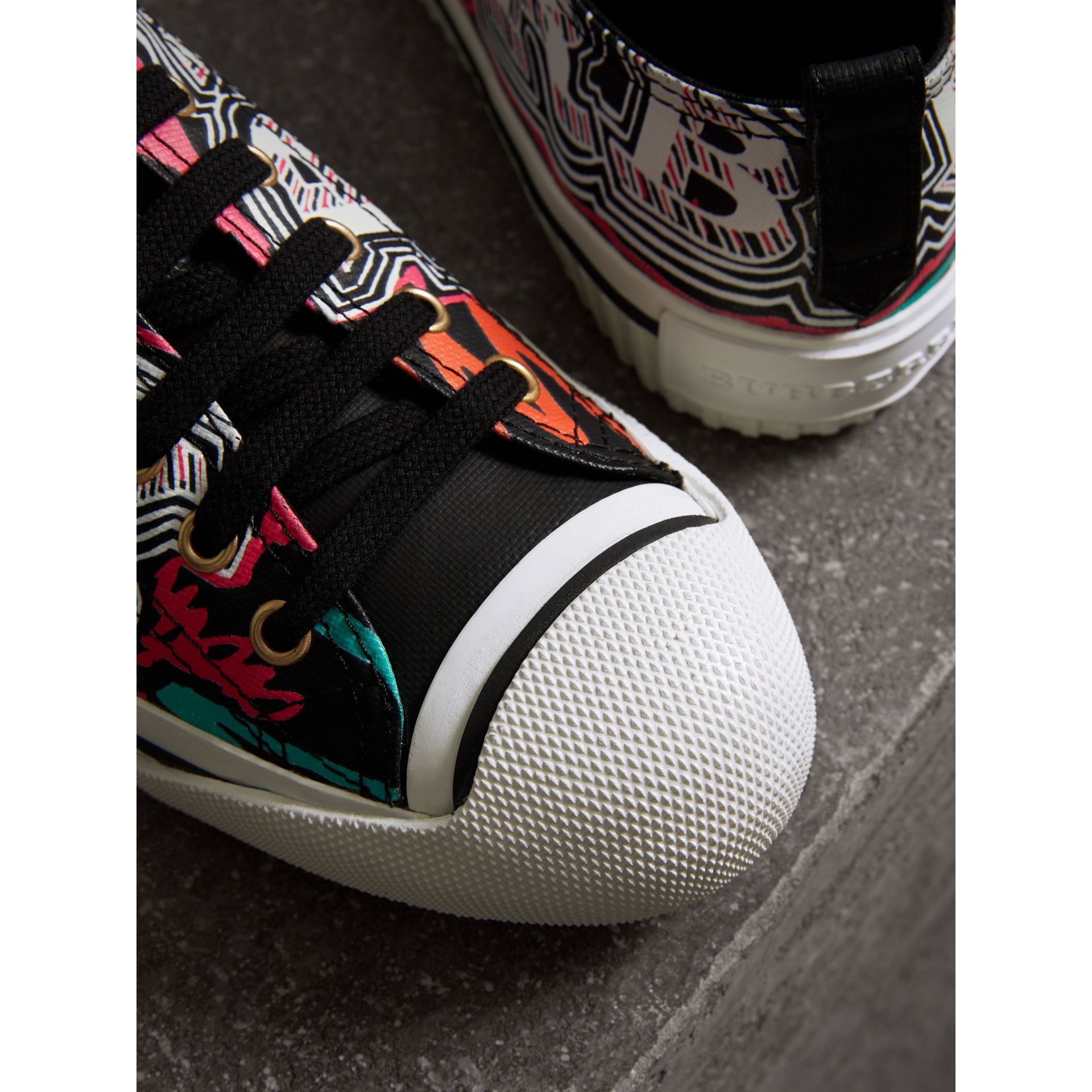 Doodle Print Coated Cotton Sneakers in Black - Women | Burberry - gallery image 1