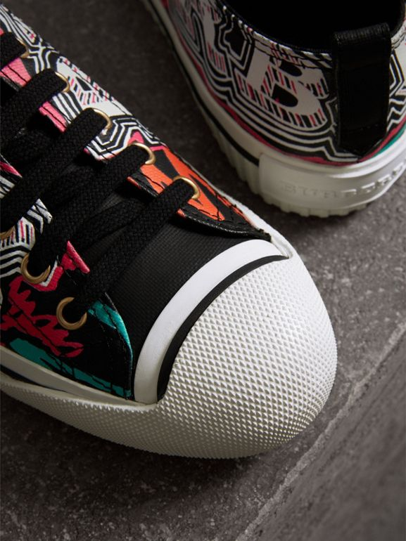 Doodle Print Coated Cotton Sneakers in Black - Women | Burberry - cell image 1