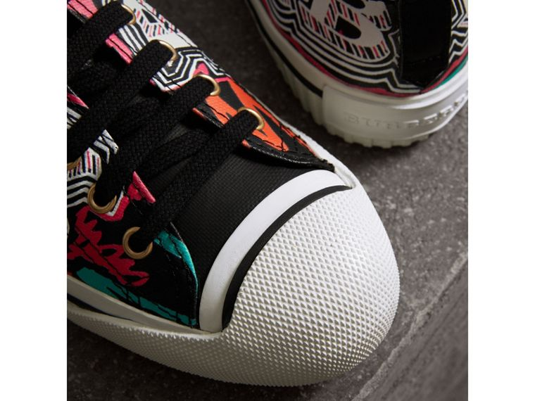 Doodle Print Coated Cotton Sneakers in Black - Women | Burberry Singapore - cell image 1