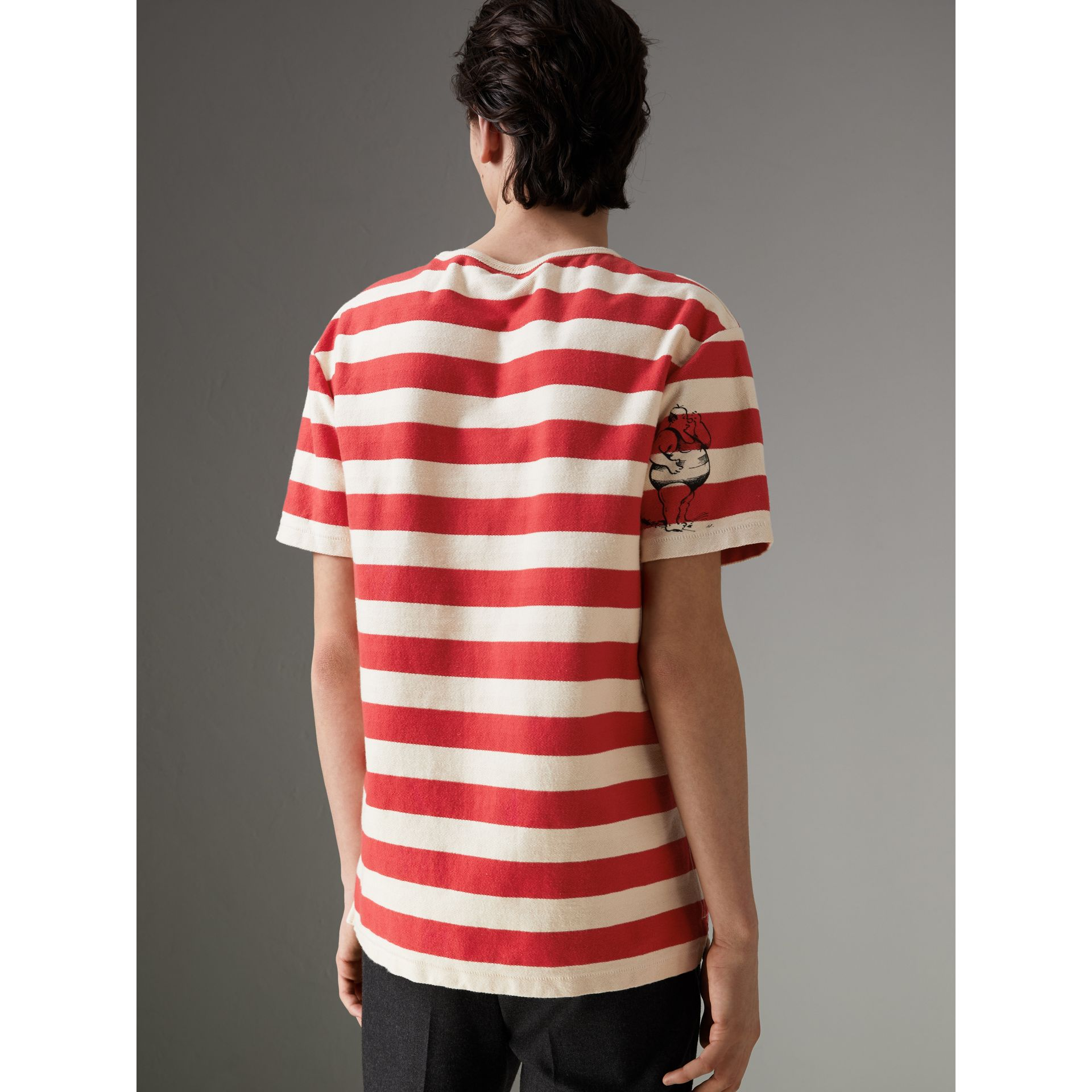 Adventure Print Striped Cotton T-shirt in Off White/parade Red - Men | Burberry United Kingdom - gallery image 2