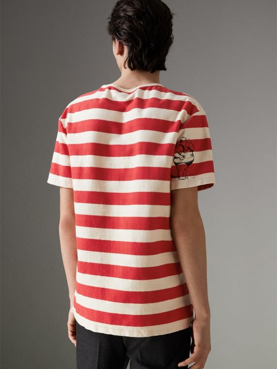 Adventure Print Striped Cotton T-shirt in Off White/parade Red - Men | Burberry Singapore - cell image 2