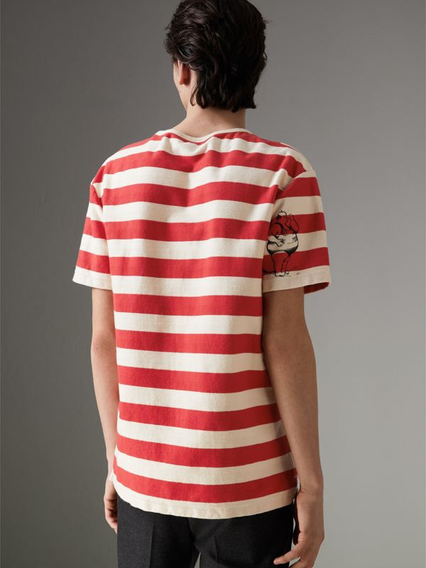 Adventure Print Striped Cotton T-shirt in Off White/parade Red - Men | Burberry United Kingdom - cell image 2
