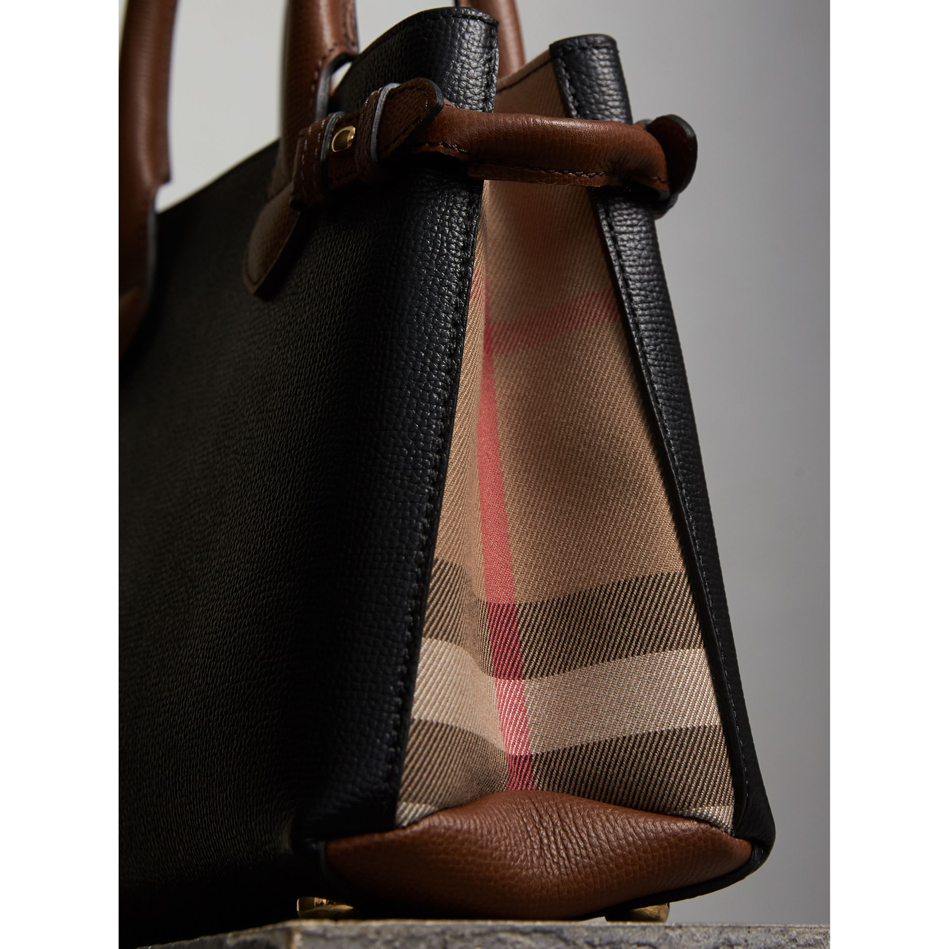 The Small Banner in Leather and House Check in Black/tan - Women | Burberry - gallery image 7