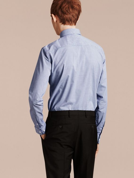 Slim Fit Gingham Cotton Poplin Shirt in Dark Empire Blue - cell image 2