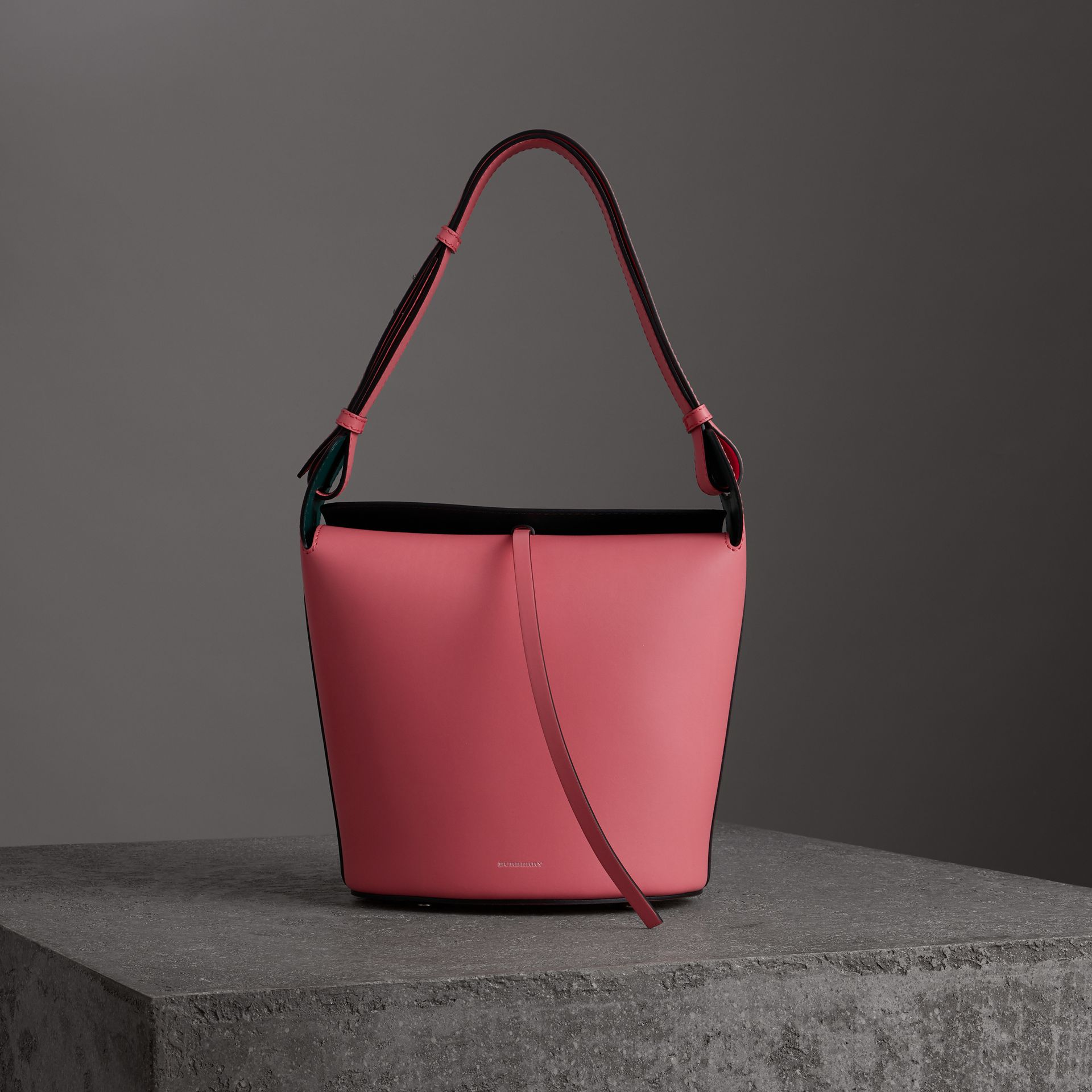 The Medium Leather Bucket Bag in Bright Coral Pink - Women | Burberry United Kingdom - gallery image 0
