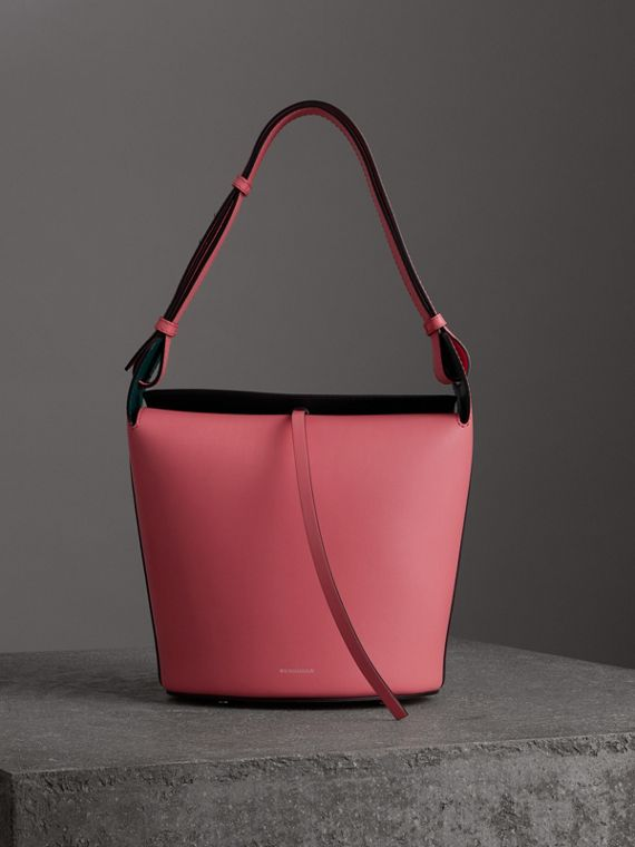 The Medium Leather Bucket Bag in Bright Coral Pink