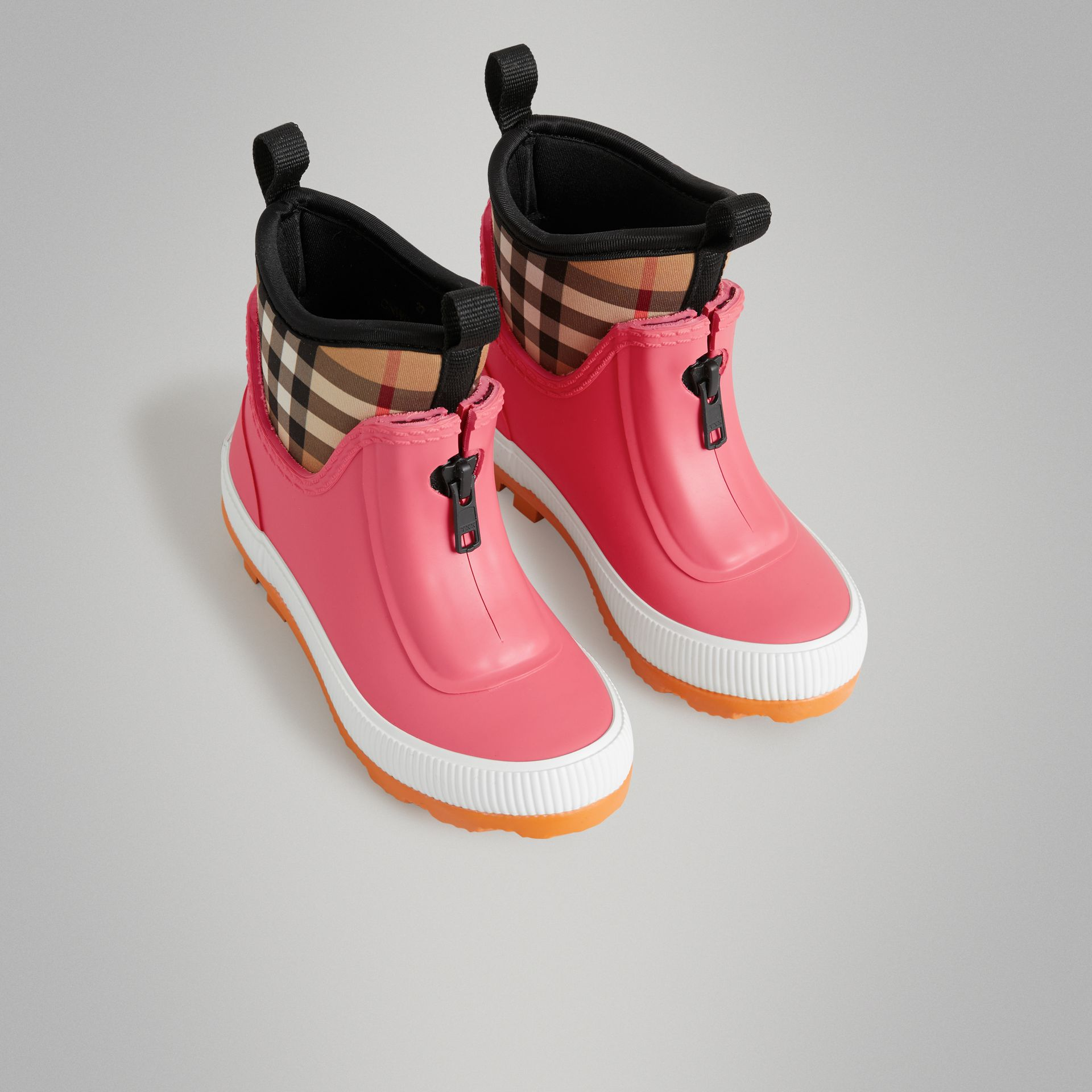 Vintage Check Neoprene and Rubber Rain Boots in Pink Azalea | Burberry Australia - gallery image 0