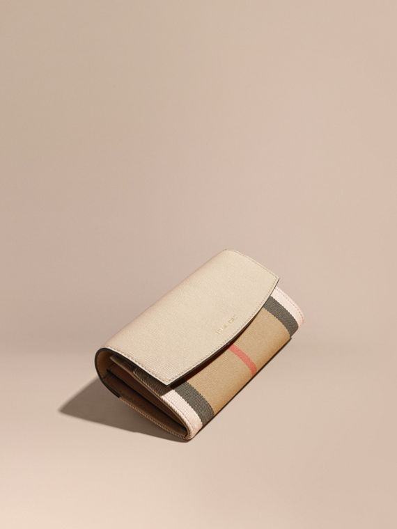 House Check And Leather Continental Wallet in Limestone - Women | Burberry Australia
