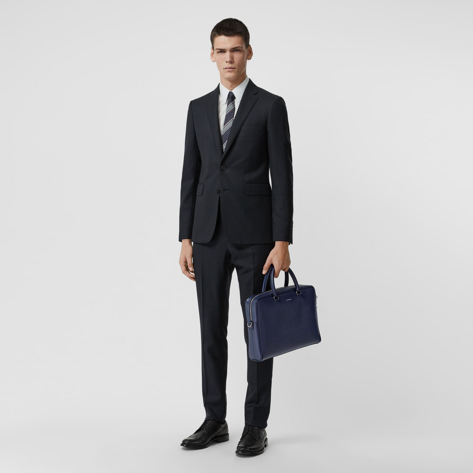 London Leather Briefcase in Navy - Men | Burberry - gallery image 2