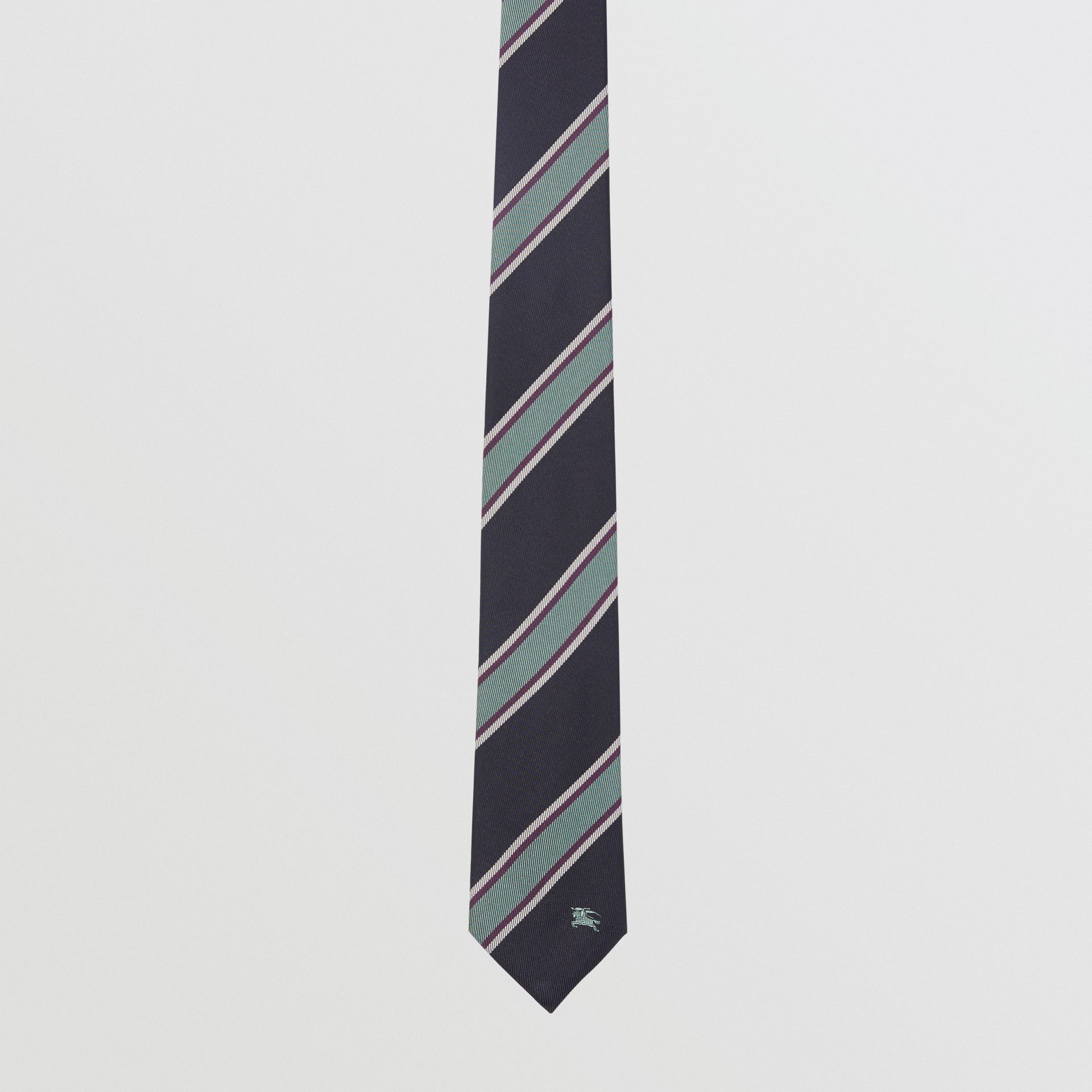 Modern Cut Striped Silk Jacquard Tie in Dark Indigo Blue - Men | Burberry - gallery image 4