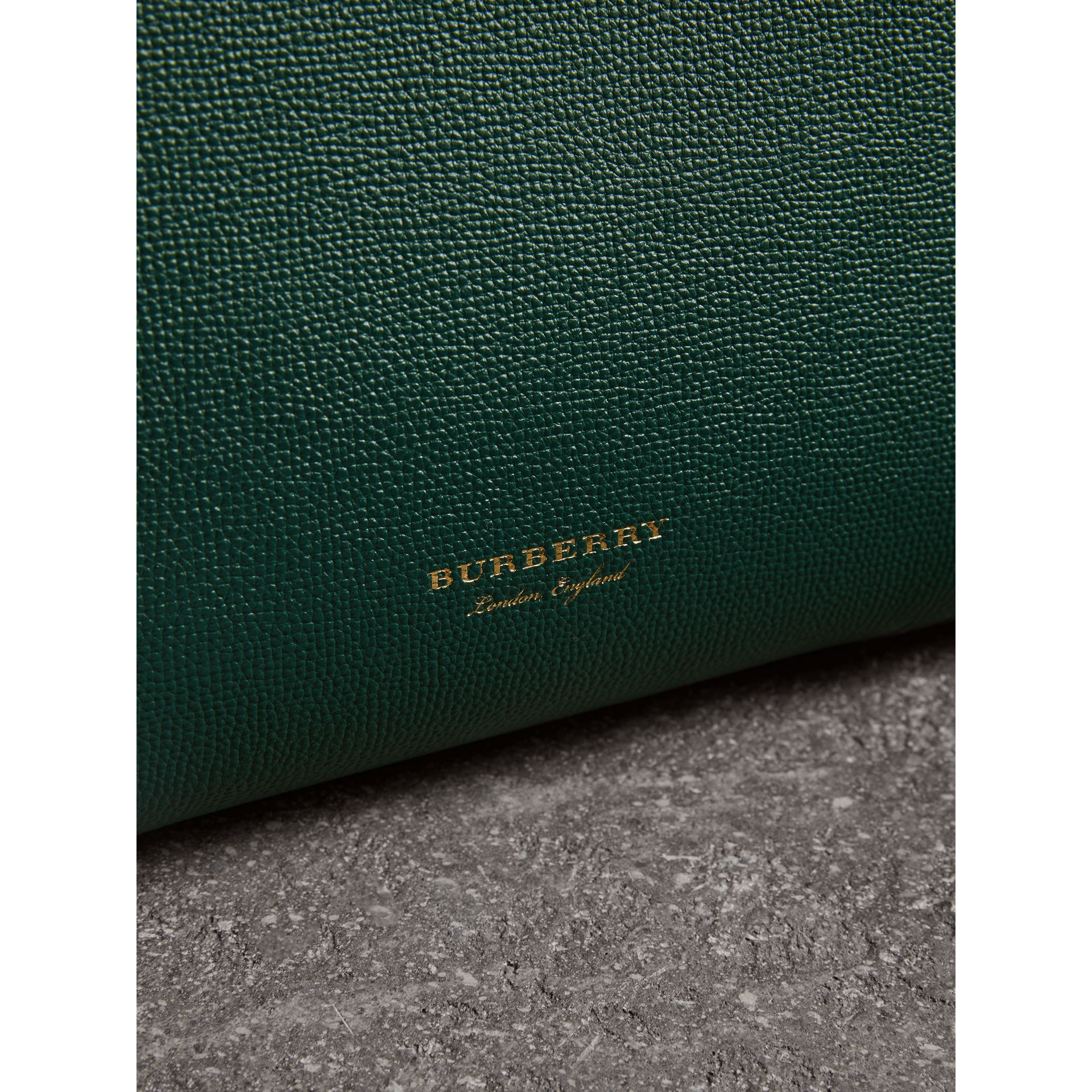 The Medium Banner in Brogue Detail Leather in Sea Green - Women | Burberry Australia - gallery image 1