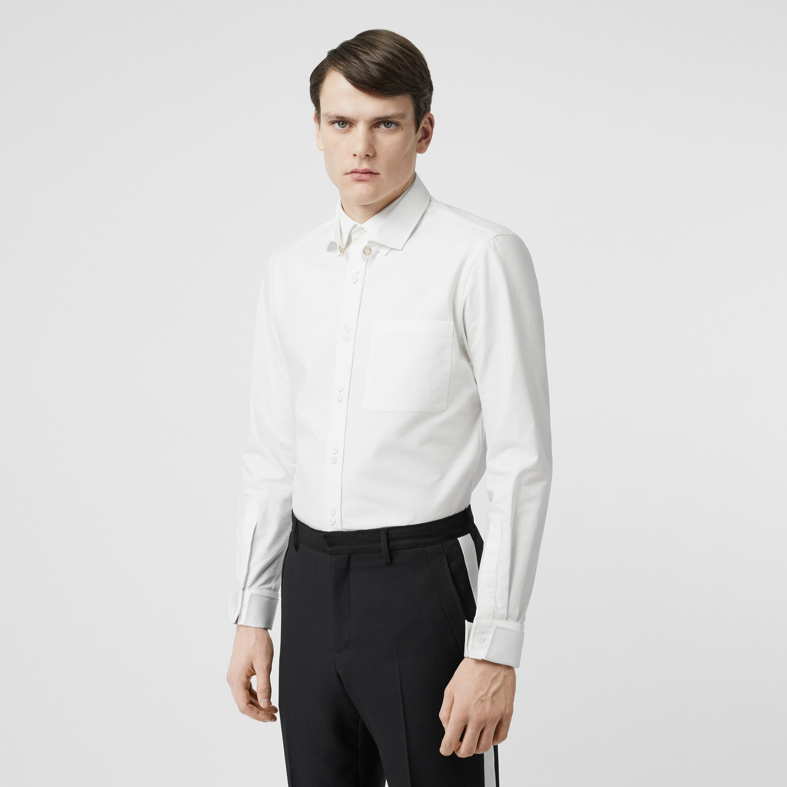 Classic Fit Detachable Collar Cotton Shirt in Optic White - Men | Burberry - 1