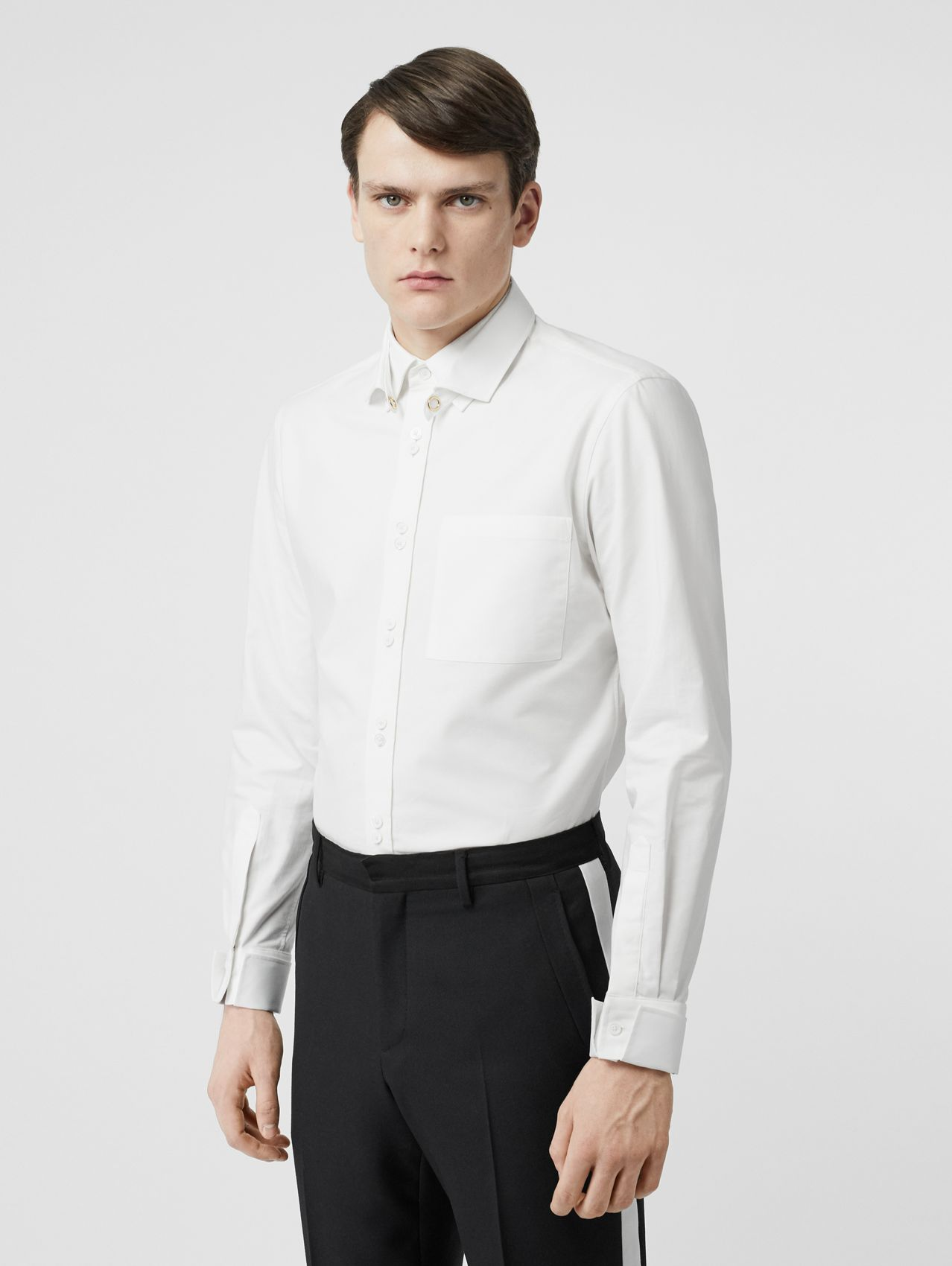 Classic Fit Detachable Collar Cotton Shirt in Optic White