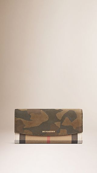 House Check and Camouflage Suede Continental Wallet