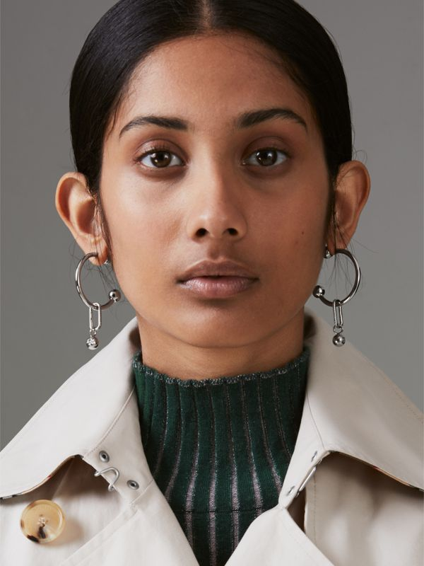 Crystal Charm Palladium-plated Hoop Earrings in Palladio/crystal - Women | Burberry Singapore - cell image 2