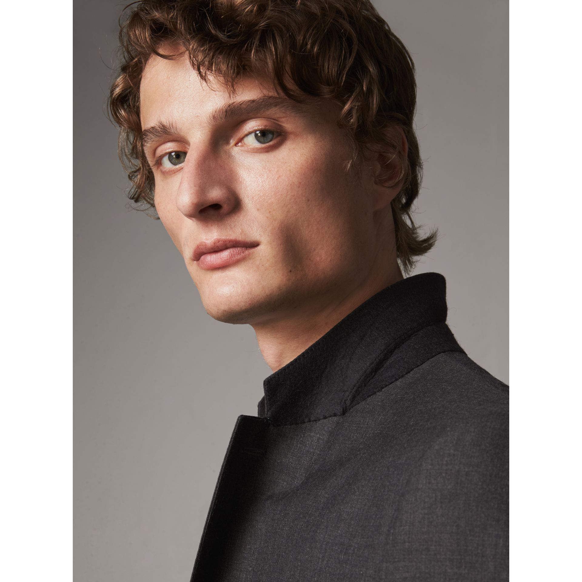 Modern Fit Wool Part-canvas Suit in Charcoal - Men | Burberry United Kingdom - gallery image 7