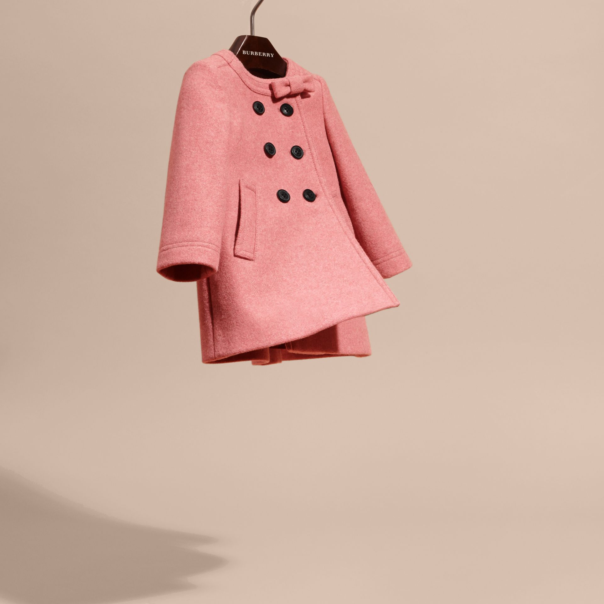 Peony rose melange Bow Detail Wool Cashmere Coat - gallery image 3