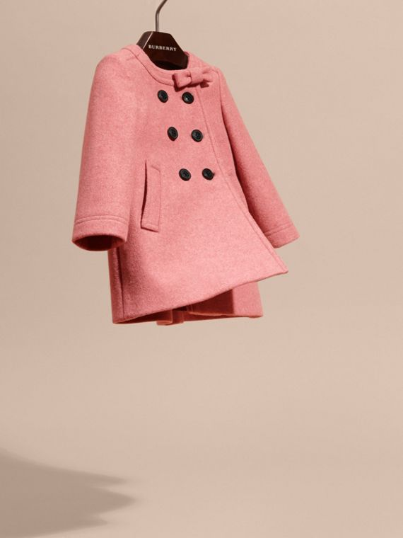 Peony rose melange Bow Detail Wool Cashmere Coat - cell image 2