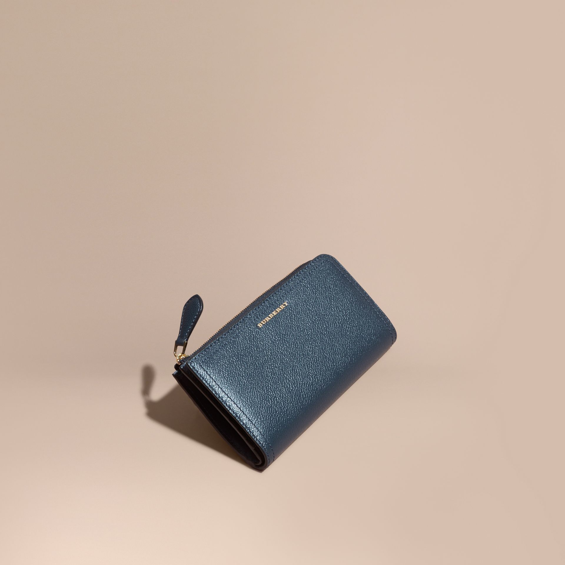 Grainy Leather Ziparound Wallet in Blue Carbon - Women | Burberry Canada - gallery image 1