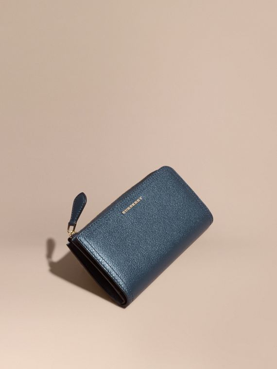 Grainy Leather Ziparound Wallet in Blue Carbon