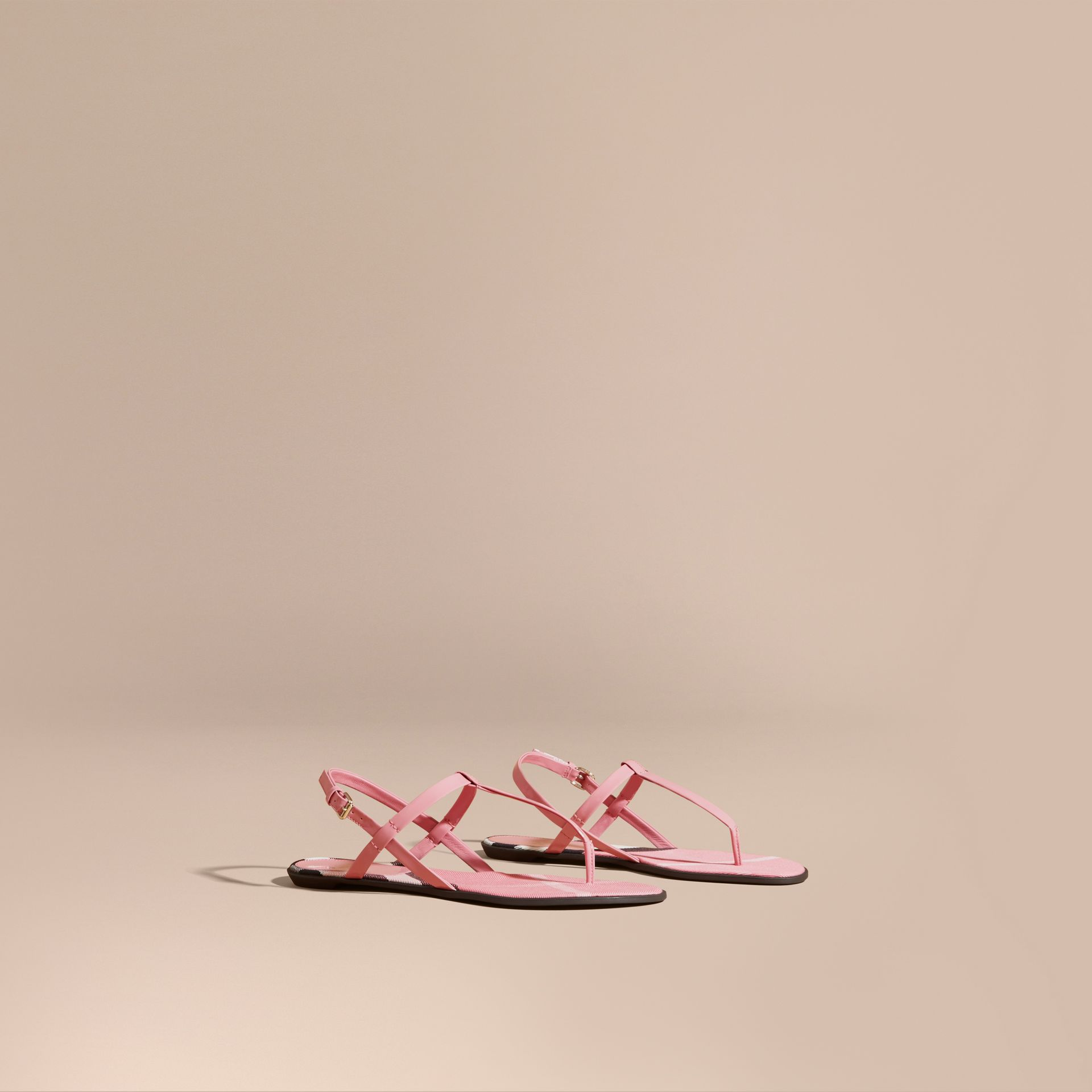 House Check-lined Leather Sandals Berry Pink - gallery image 1