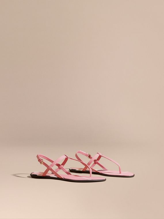 House Check-lined Leather Sandals in Berry Pink