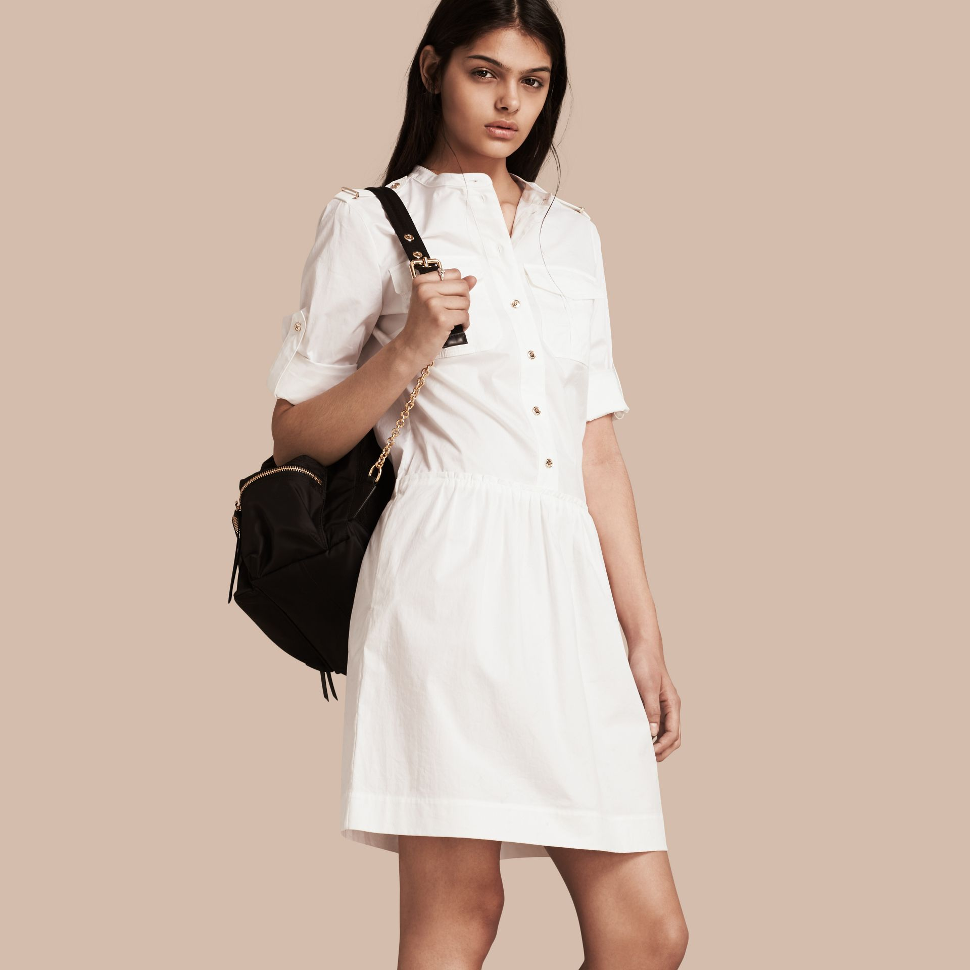 White Military-inspired Cotton Blend Shirt Dress White - gallery image 1